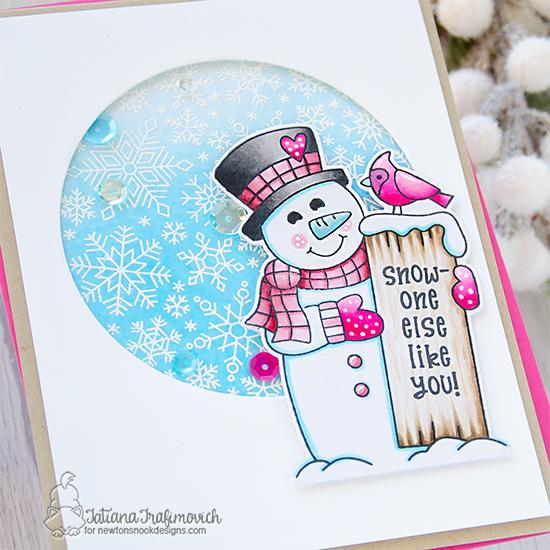 Snowman Card by Tatiana Trafimovich | Snowman Greetings and Snowfall Roundabout Stamp Sets by Newton's Nook Designs #newtonsnook #handmade