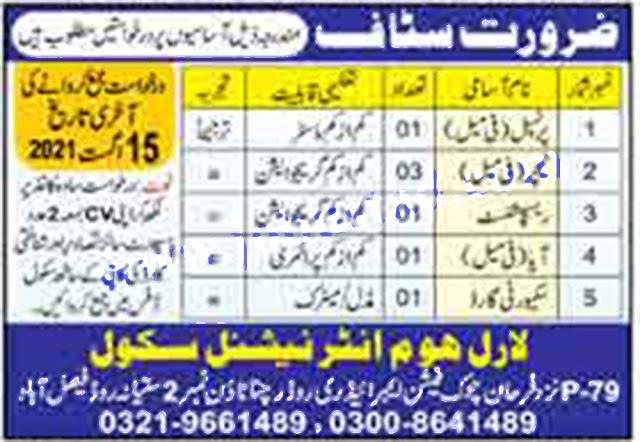 Laurel Home International School latest Jobs in Faisalabad 2021