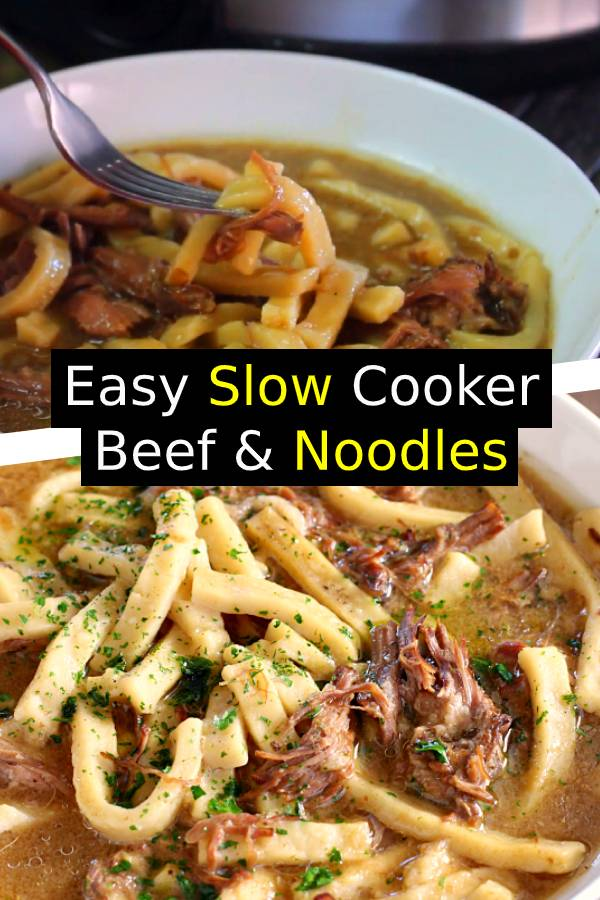 Easy Slow Cooker Beef & Noodles Recipe | Hearty, and stick-to-your-ribs, this Slow Cooker Beef & Noodles is a cinch to make! #beef #noodles #slowcooker #dinner #comfortfood