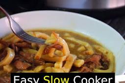 Easy Slow Cooker Beef & Noodles Recipe #beef #noodles #slowcooker #dinner #comfortfood