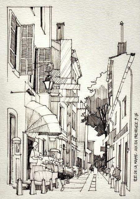 Gambar sketsa pemandangan kota