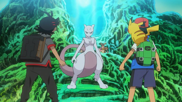 Goh e Ash encontram Mewtwo