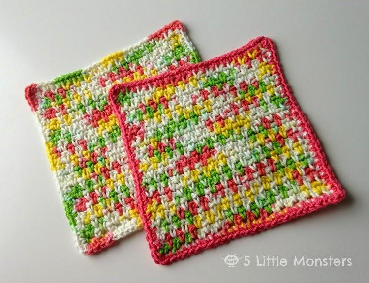 5 Little Monsters My Favorite Dischloths Moss Stitch Dishcloth