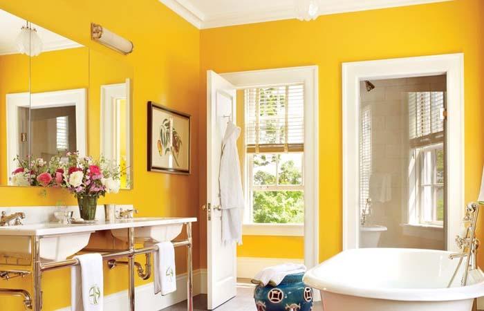 güneş sarısı banyo dizaynı