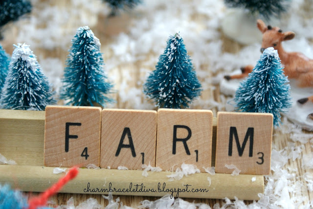 "Vintage scrabble game tiles spelling ""Farm"" in Tree Farm"