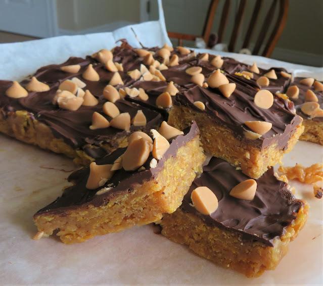 Peanut Butter Cornflake Bars (No Bake)