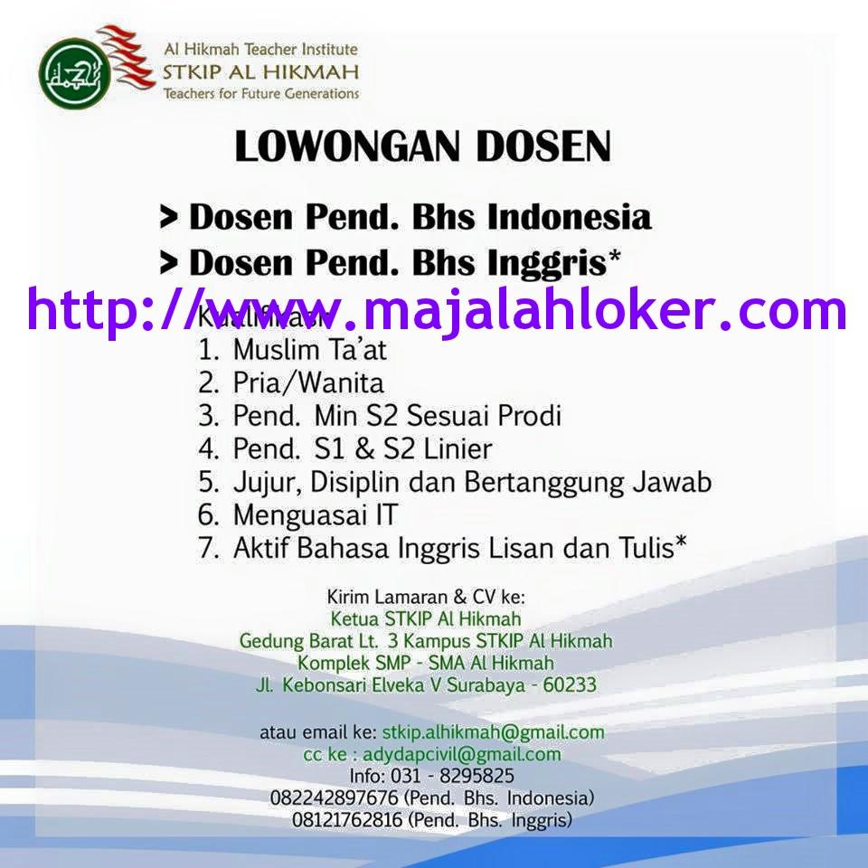 Lowongan Dosen Pendidikan Bahasa Indonesia & Inggris STKIP Al Hikmah