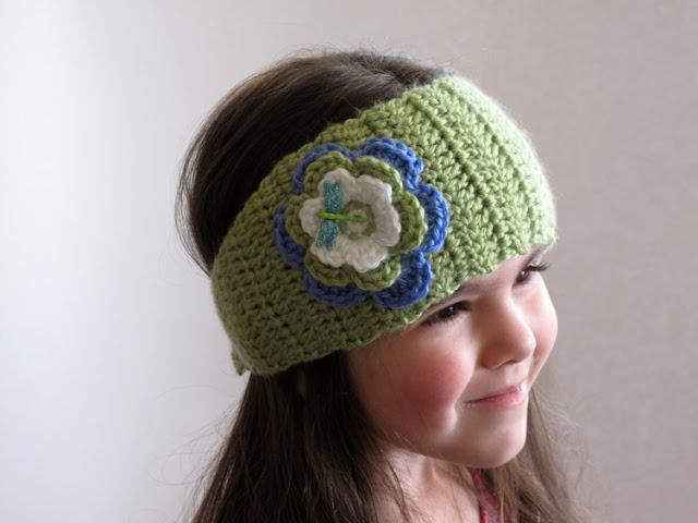 Dragonfly Inspired Crochet Ear Warmer Headband