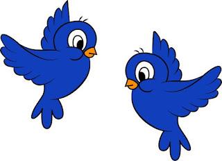 Gambar kartun hewan burung berwarna biru
