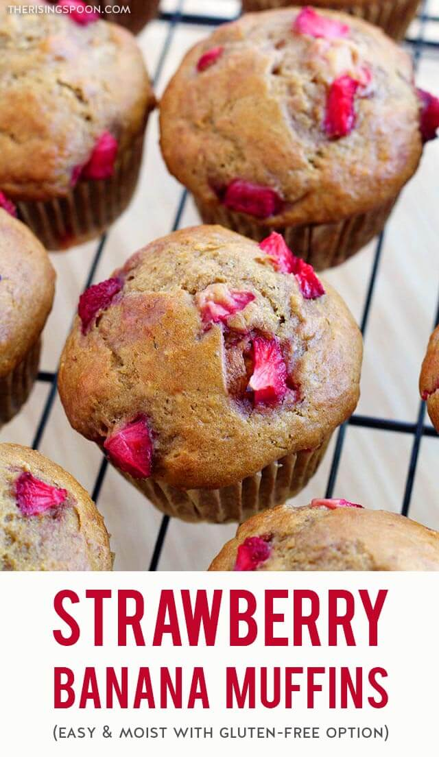 An easy recipe for strawberry banana muffins that are tender, moist & fragrant. If you're tired of regular banana bread muffins, try this version with ripe strawberries, orange zest & orange juice for extra fruit flavor. Bake a batch in a little over 30 minutes and keep them on hand for a quick breakfast, snack, or dessert. {dairy-free with gluten-free option}