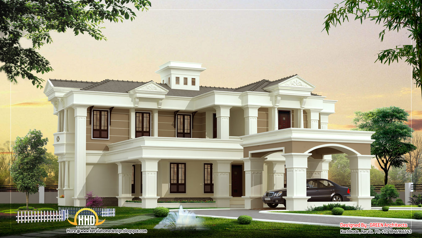 Beautiful luxury villa design 4525 sq ft kerala home for Villa designs and floor plans