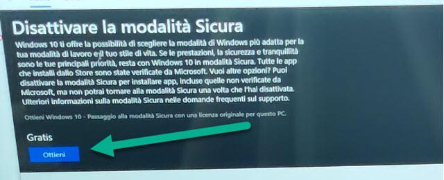 disattivare la modalità sicura di Windows 10
