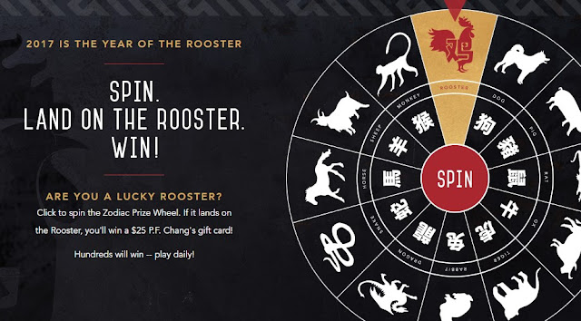 P.F. Chang is celebrating 2017, The Year Of The Rooster by offering you a chance to spin to win their prize wheel every day to win a Chinatown vacation or a P.F. Chang Gift Card!