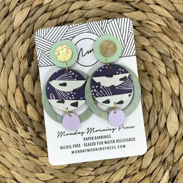 green, gold, navy, lavender, and white big, bold, circular patterned paper earrings