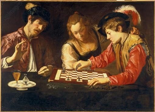 Les joueurs d'échecs du Caravage (1610)