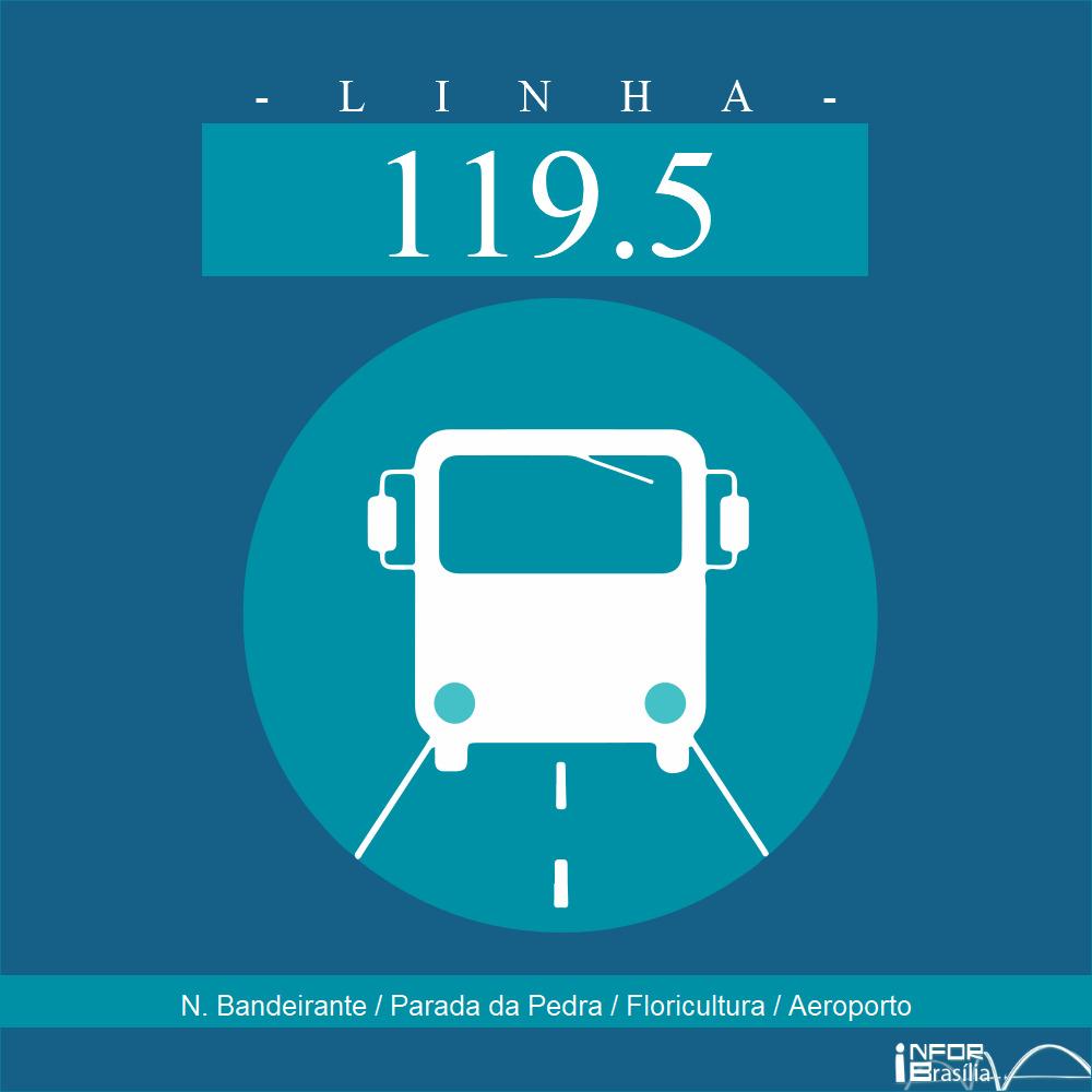 Horário de ônibus e itinerário 119.5 - N. Bandeirante / Parada da Pedra / Floricultura / Aeroporto
