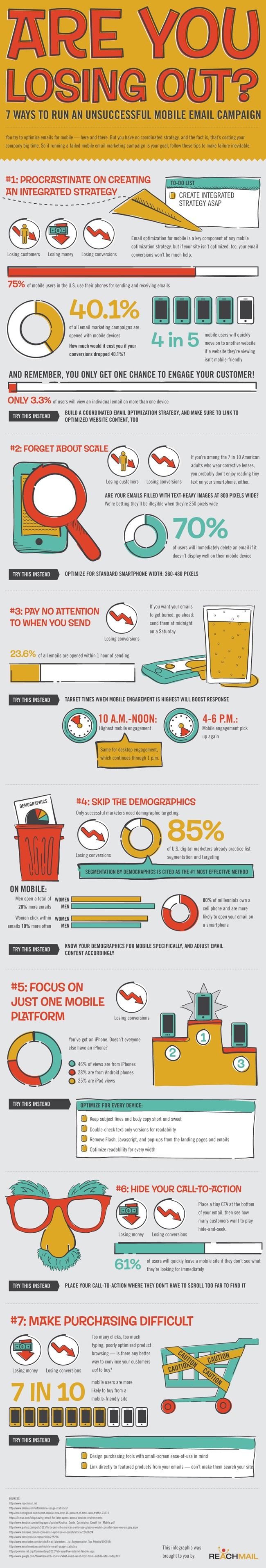 7 WAYS TO RUN AN UNSUCCESSFUL MOBILE EMAIL CAMPAIGN #INFOGRAPHIC
