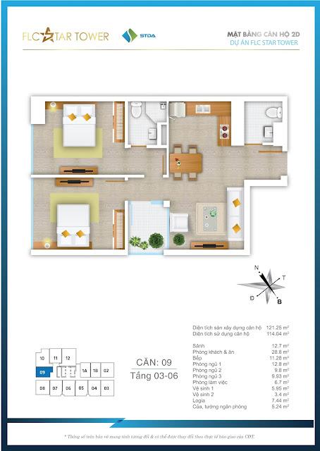Thiết kế căn hộ 09 - FLC Star Tower