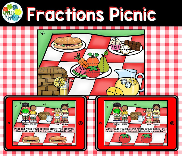 Fractions Picnic Digital Task Cards | Apples to Applique