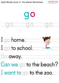 Mama Love Print 自製工作紙 - 英文常見詞 Sight Words (Pre-Primer Dolch Lists) - Level 1 英文幼稚園工作紙  Kindergarten English Worksheet Free Download