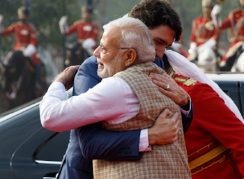 Trudeau's rough week in India ends with bear hug from Narendra Modi