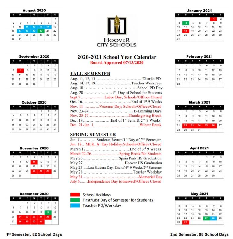 Hoover School Calendar 2020-2021