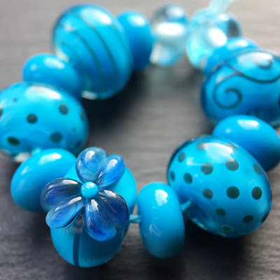 Lampwork glass beads made in Creation is Messy 'Aloha'