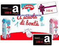 """Concorso Carnini """"A scuola di bontà"""" : vinci 70 Gift Card a tua scelta da 100 euro per materiale didattico"""