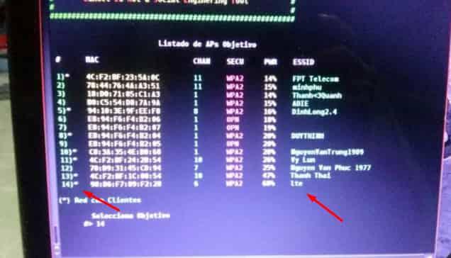 pilih target wifi yang mau di hack