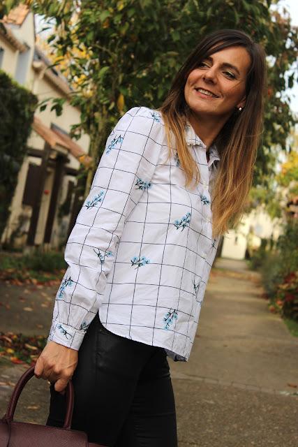 chemise à carreaux zara, pantalon enduit, chaussures san marina les petites bulles de ma vie