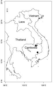 Distribution of Kaempferia nemoralis Insis. sp. nov. (●) and Kaempferia pascuorum Insis. sp. nov. (