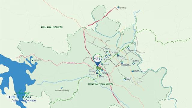 Vị trí chung cư Tecco Elite City Thái Nguyên