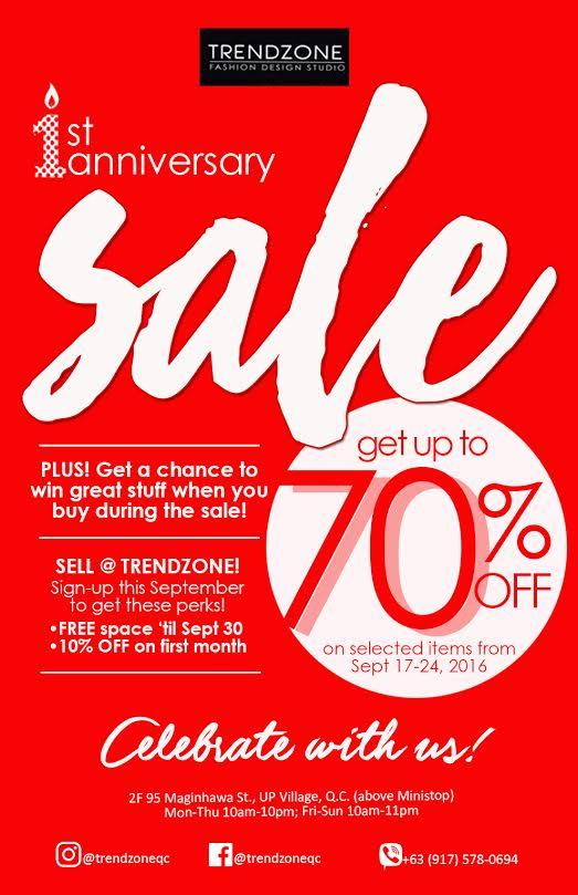manila shopper  trendzone maginhawa anniversary sale  sept