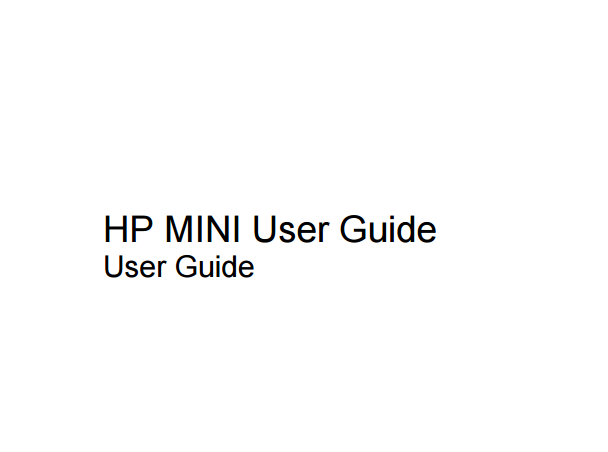 HP Mini 1000 User Manual