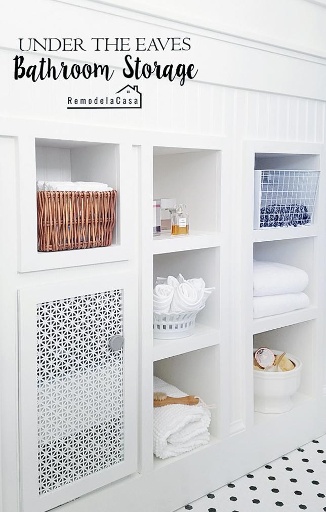 modern farmhouse bathroom with wall shelves