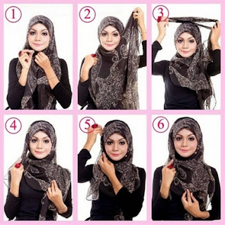 cara memakai hijab fashion segi empat modern terbaru
