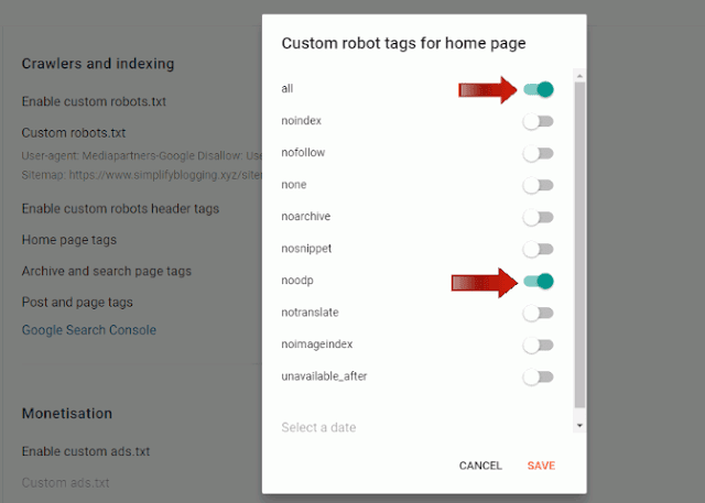 Custom Robots Header Tags setting for blogger