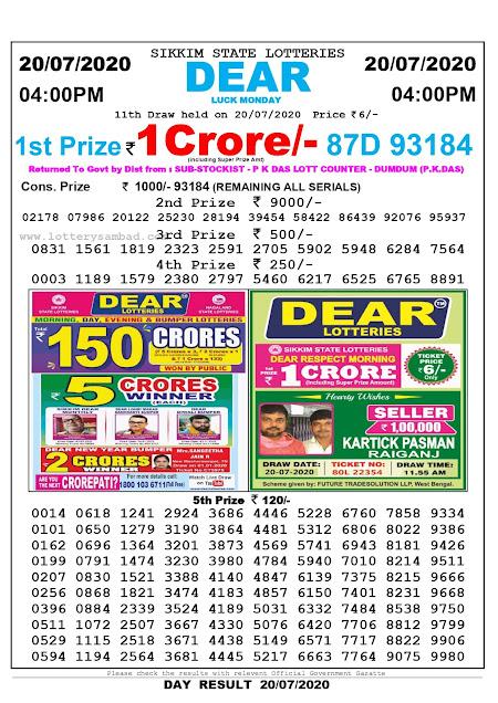 Sikkim State Lottery Sambad 4:00 pm Result 20-07-2020