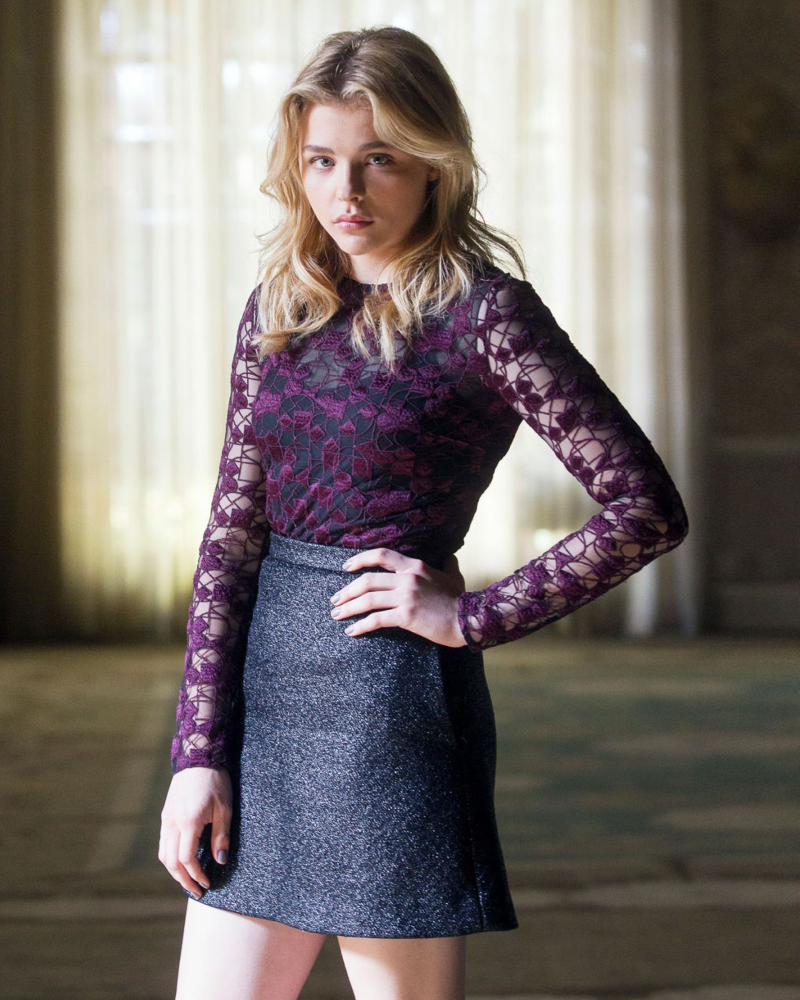 chloe grace moretz dark blonde hair lace mini skirt