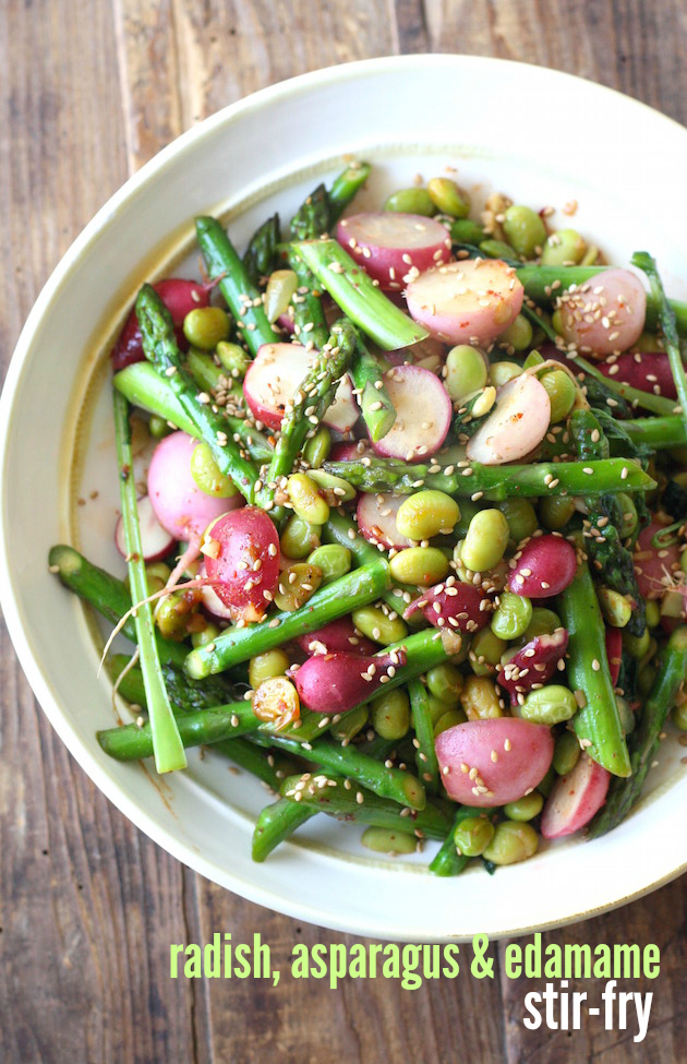 Radish, Asparagus, and Edamame Stir-Fry by SeasonWithSpice.com