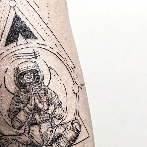 astronaut welcomes you space tattoo