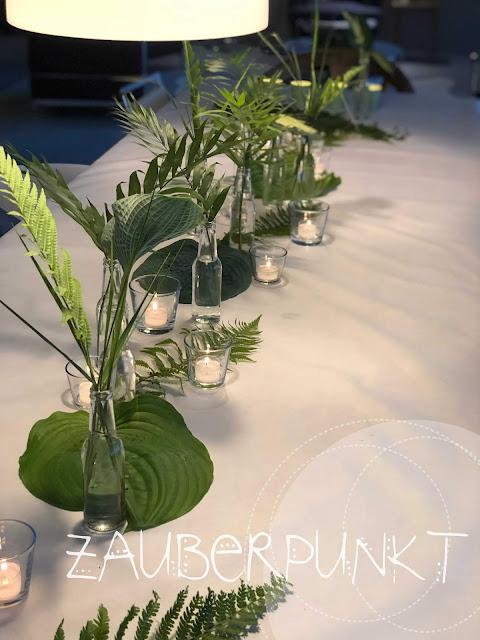 Tischdekorationsessential, Grundlagen der Tischdekoration, Blätterdekoration, Geburtstagstafel, Tablesetting