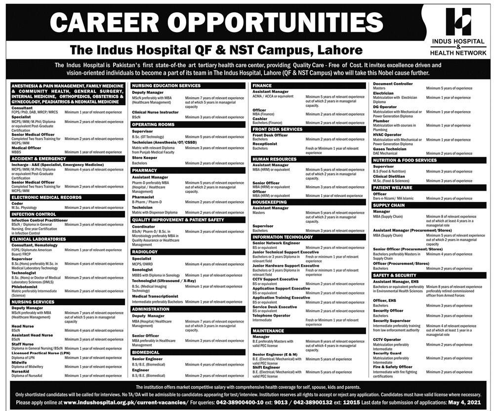 www.indushospital.org.pk/current-vacancies - Indus Hospital Jobs 2021 in Pakistan