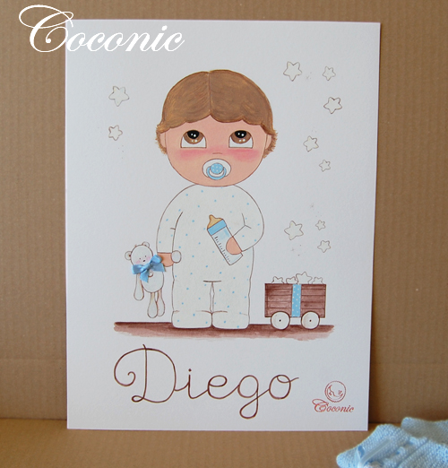 cuadro infantil lamina personalizada nino estrellas biberon bebe chupete