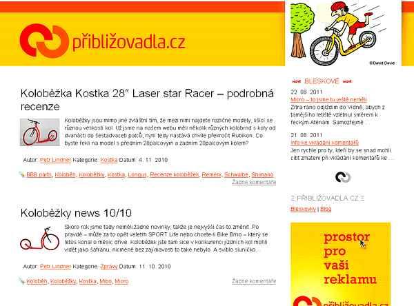 site tcheque sur la trottinette Priblizovadla.cz