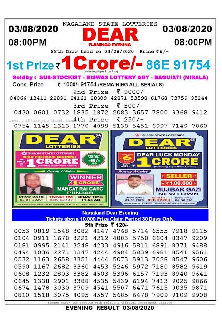 Nagaland State Lotteries 03-07-2020 Lottery Sambad Result 800 PM