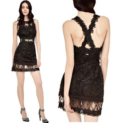 vestido negro de encaje Guess