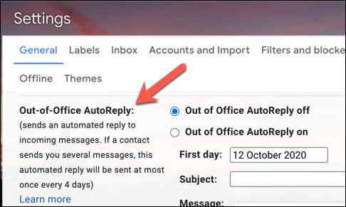 """منطقة إعدادات المستجيب للعطلات في Gmail ، المسمى """"الرد التلقائي خارج المكتب"""" في حساب Gmail في المملكة المتحدة"""