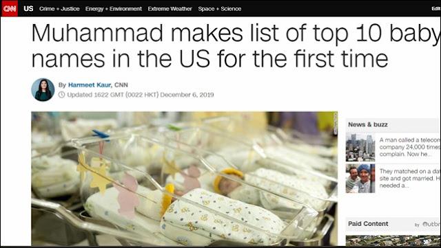 Muhammad, Masuk 10 Besar Nama Populer Bayi di AS Tahun 2019