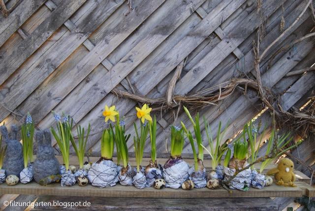 Ein Brett voller Frühlingsblüher
